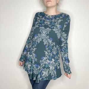 Free People | Floral open back long sleeve tunic